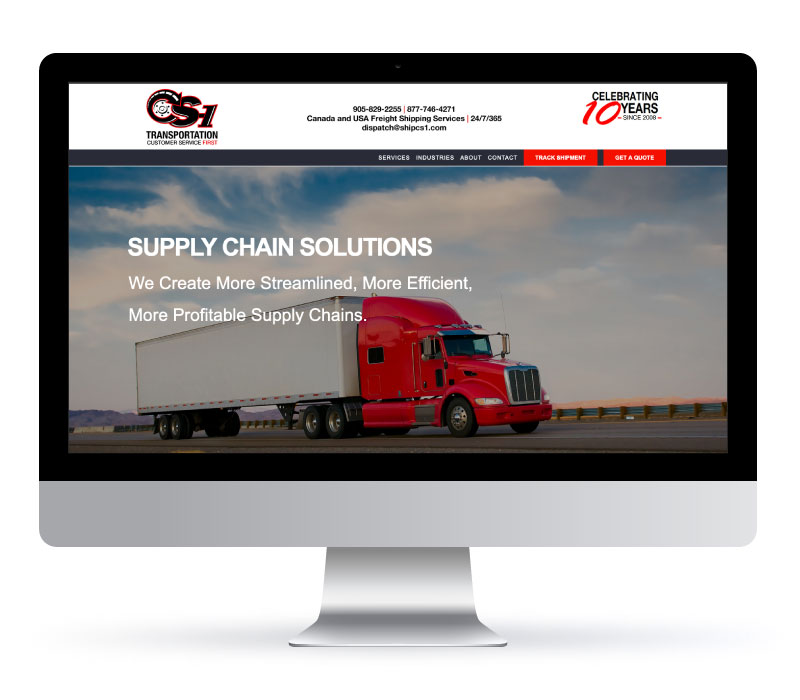CS-1 Transportation - Website Created by Jessica Design and Bare Bones Marketing.